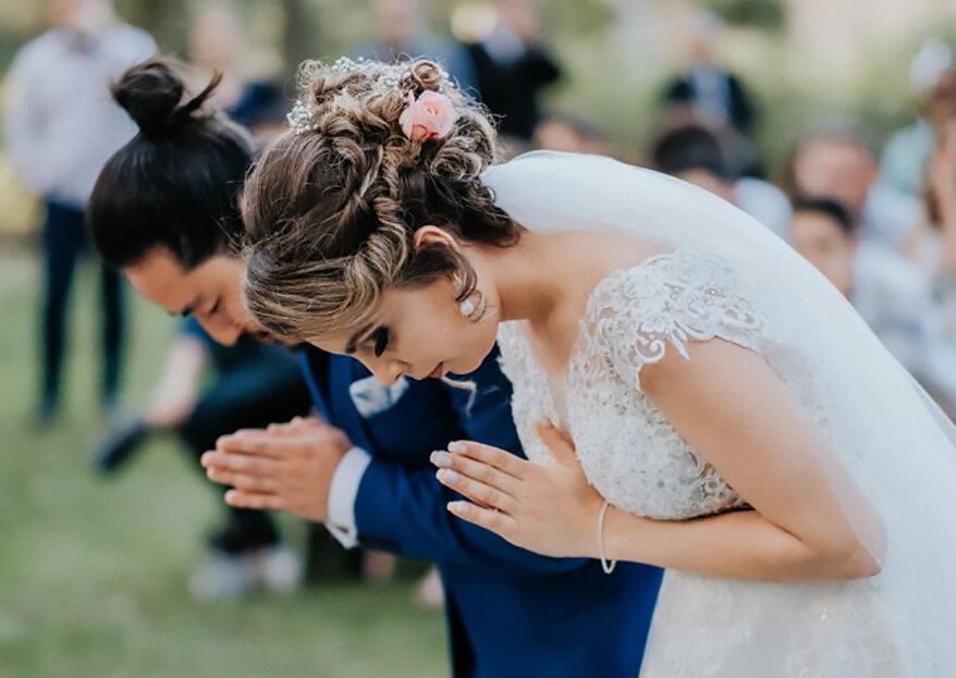 Casamento ao ar livre de Marianna & Bruno: um mix de vintage com toques orientais, celebrado de acordo com as tradições japonesas!