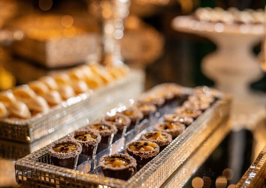 Mesa de doces e sobremesas deliciosas: para cada casamento, um estilo. Escolha o seu!