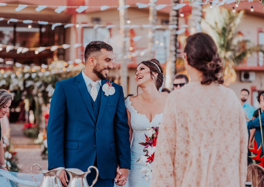 Casamento Nathália & Leonardo: cerimônia emocionante ao pôr do sol e muito rock and roll