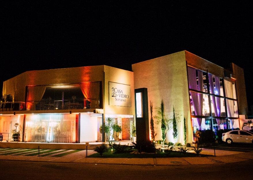 Casa de Vidro Supreme: uma estrutura imponente e contemporânea para realizar todas as festas com padrão de excelência!